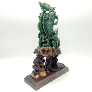 Jade Carving - Carp with Flowers - The Jade Store