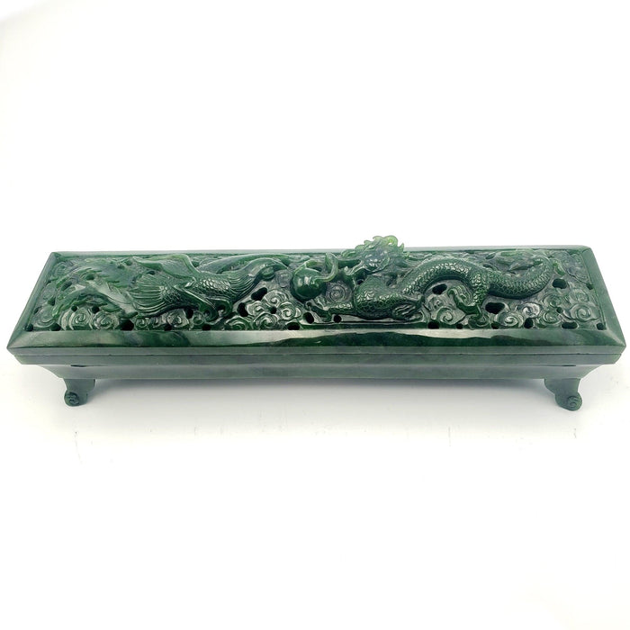 Jade Incense Holder Phoenix & Dragon