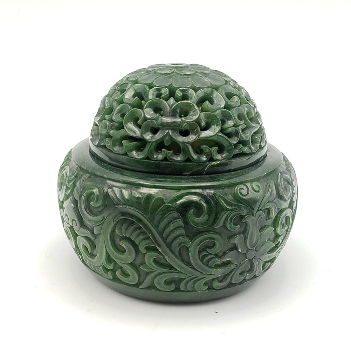Jade Incense Holder - Carved Bowl with Lid