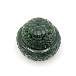 Jade Incense Holder - Carved Bowl with Lid - The Jade Store