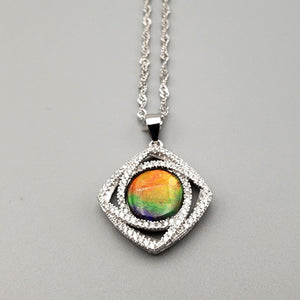 Ammolite Pendant - Oval with CZ - The Jade Store
