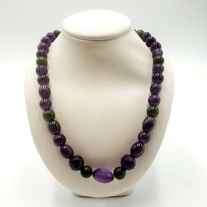 One of a Kind Beaded Necklace - Jade & Amethyst - The Jade Store