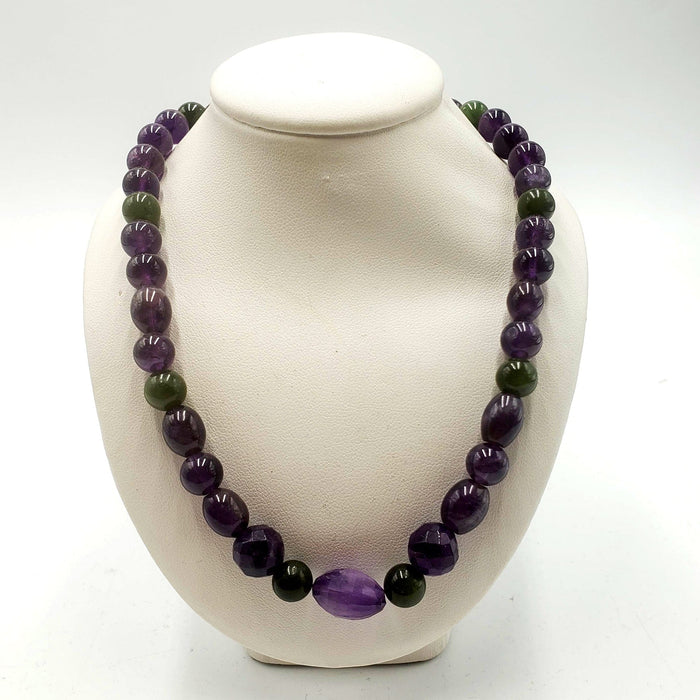 One of a Kind Beaded Necklace - Jade & Amethyst