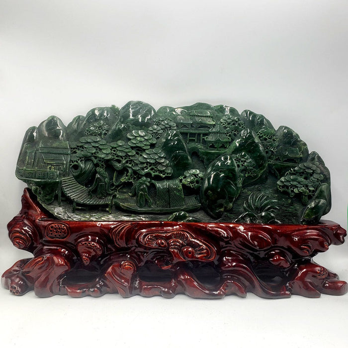 Jade Mountain Carving - Sages & River Scene