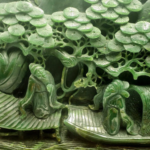 Jade Mountain Carving - Sages & River Scene - The Jade Store