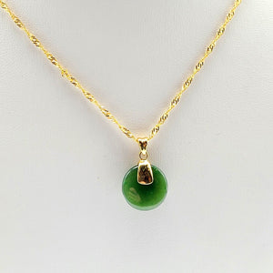 Jade Pendant - Small Disk in Gold Stainless - The Jade Store