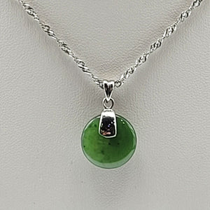 Jade Pendant - Small Disk in Stainless - The Jade Store