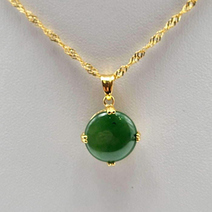 Jade Pendant - Round 4 Prong Gold Stainless
