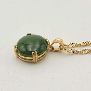 Jade Pendant - Round 4 Prong Gold Stainless - The Jade Store
