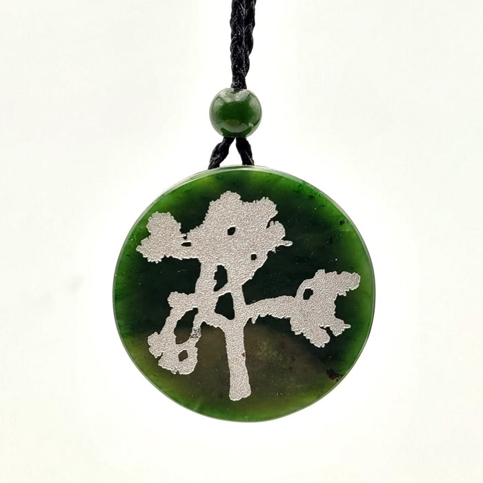 Jade Pendant - Disk 37mm with Silver Tree