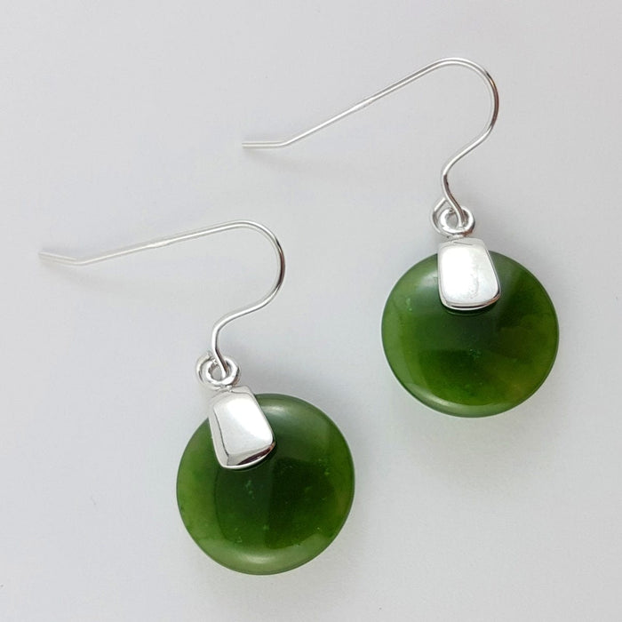 Jade Earrings - Disk Small Silver