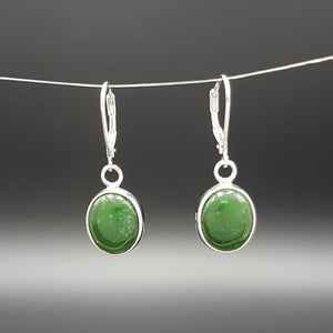 Jade Earrings - Oval Cabochon Hoops - The Jade Store