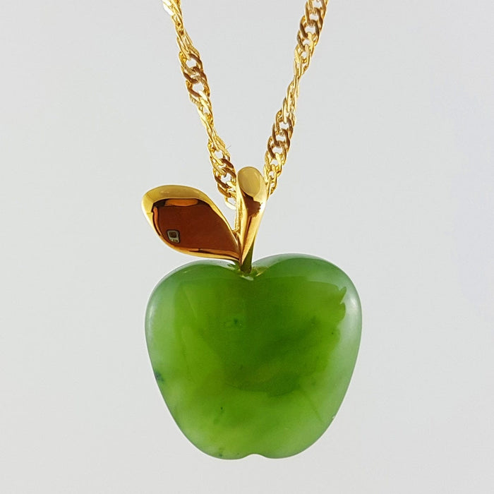 Jade Pendant - Apple in Gold Stainless