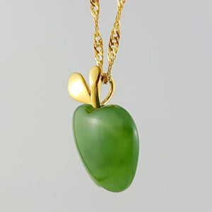 Jade Pendant - Apple in Gold Stainless - The Jade Store
