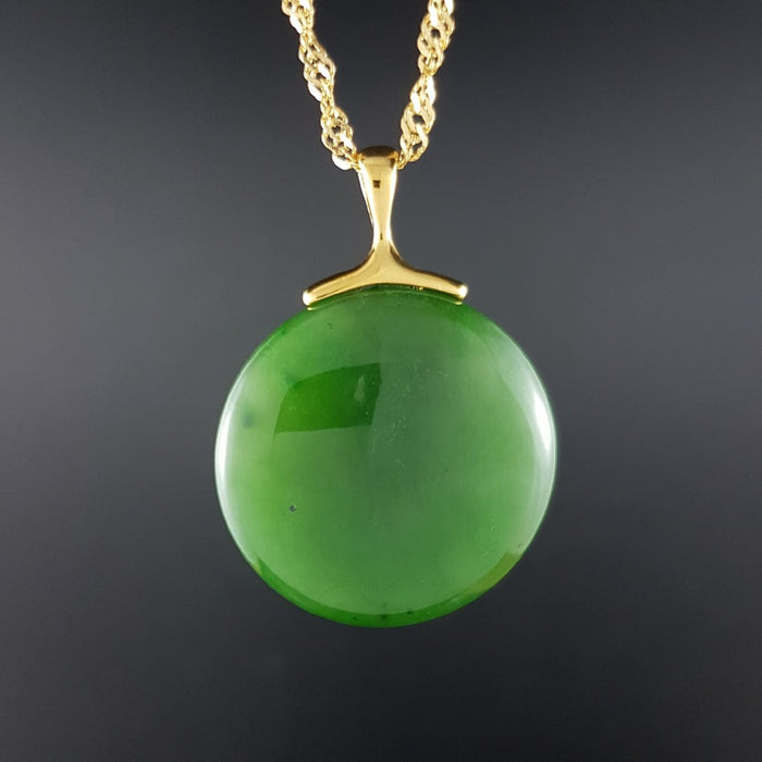 Jade Pendant - Round Disk in Gold Stainless