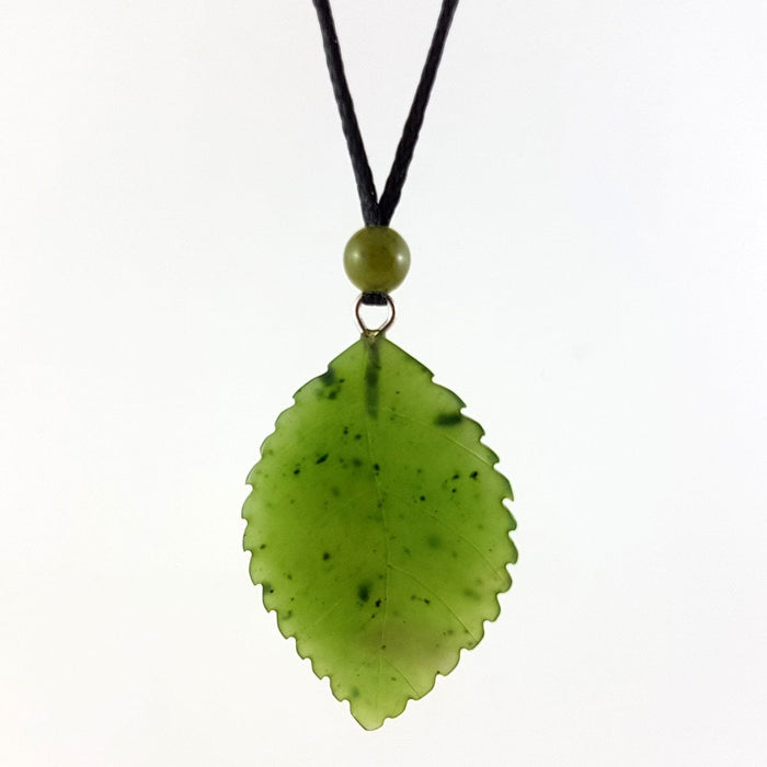 Jade Pendant - Leaf 30mm Serrated