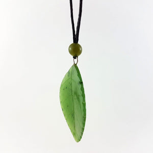 Jade Pendant - Leaf 30mm Serrated - The Jade Store