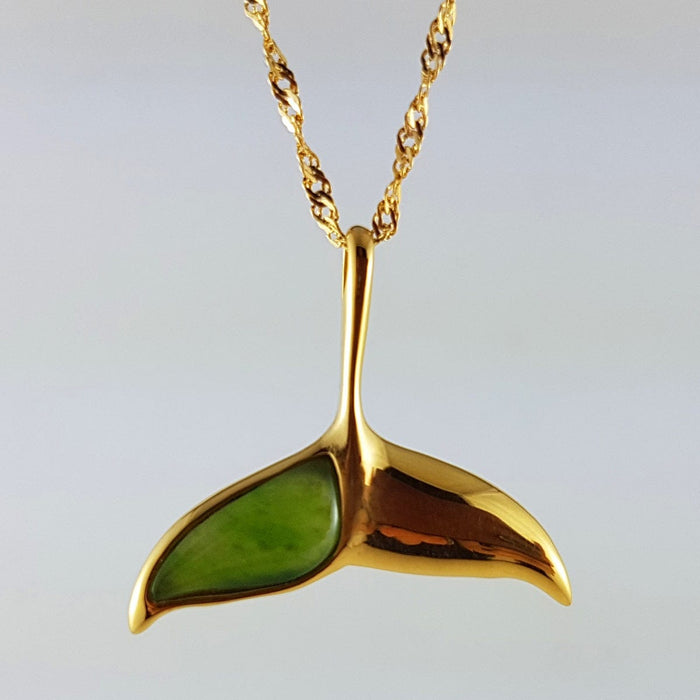 Jade Pendant - Whale Tail in Gold Stainless