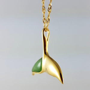 Jade Pendant - Whale Tail in Gold Stainless - The Jade Store