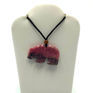 Rhodonite Pendant - Grizzly Bear - The Jade Store