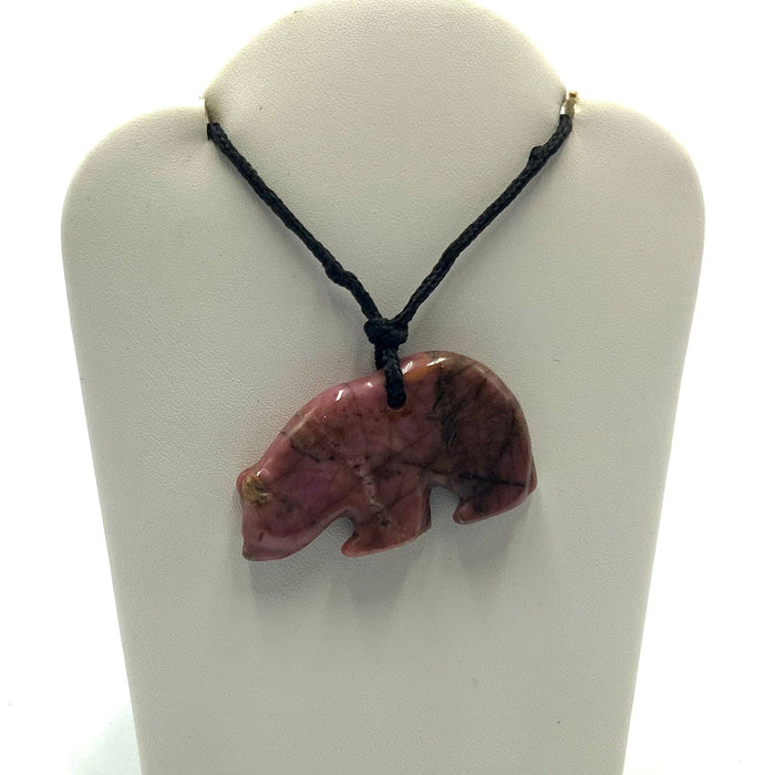 Rhodonite Pendant - Grizzly Bear