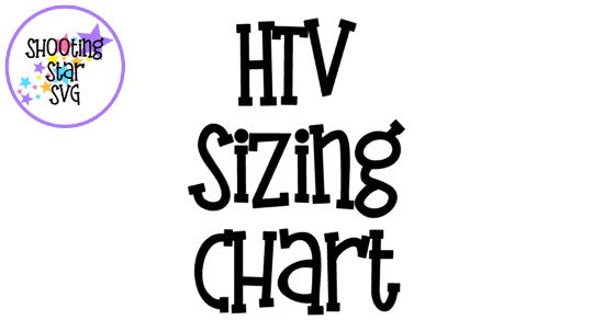 HTV Sizing Chart and Design Placement