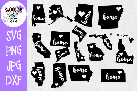 51 States Home and Heart SVG - United States SVG - United States Bundle