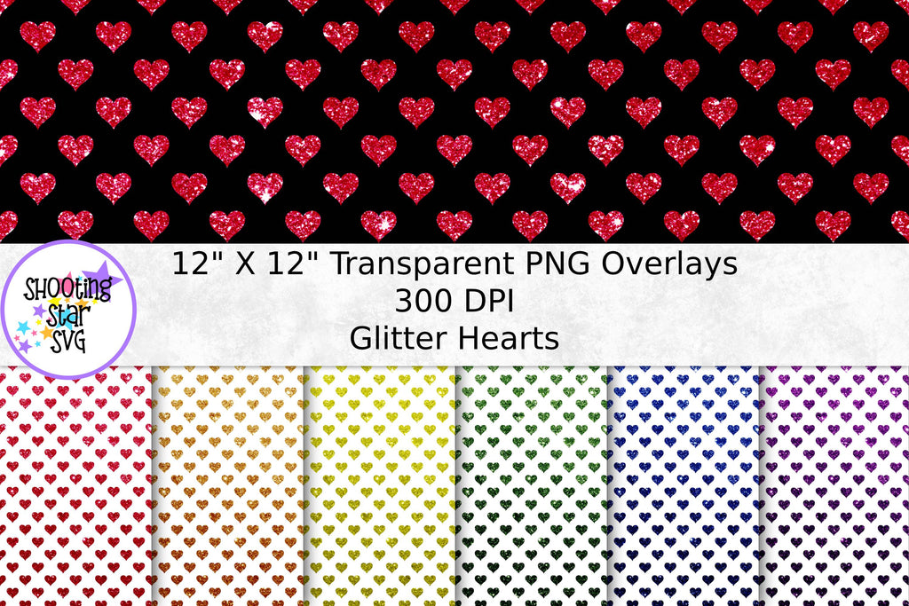 Glitter Hearts Transparent Paper Overlay - Seamless