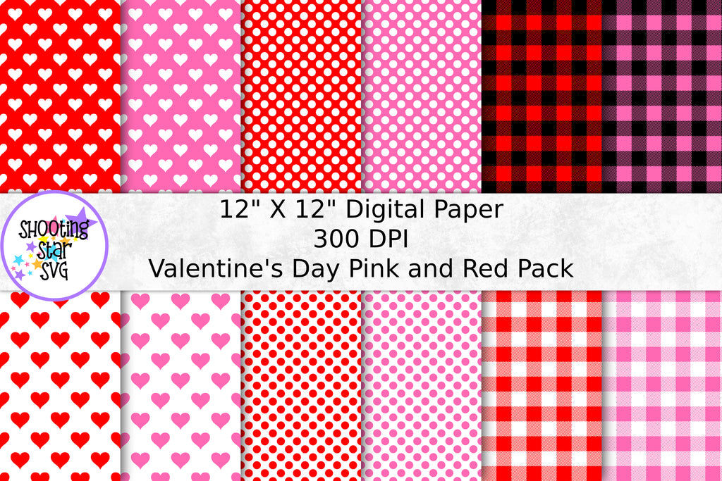 Valentine's Day Digital Paper - Red and Pink Paper Pack