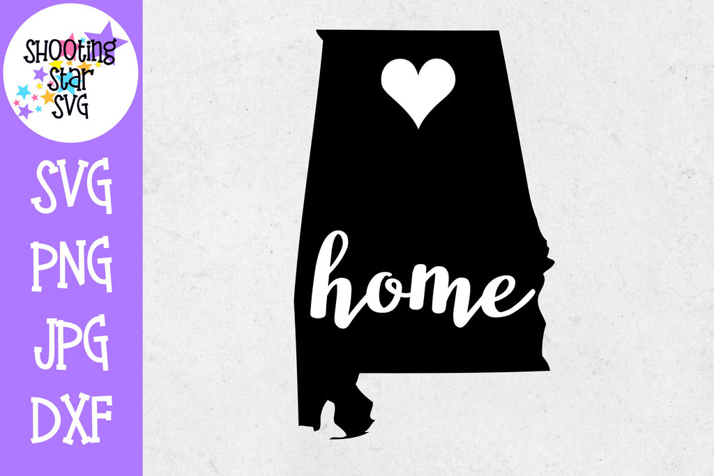 Alabama State Home with Heart SVG - 50 States SVG - United States SVG