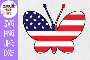 Butterfly with American Flag- Fourth of July SVG