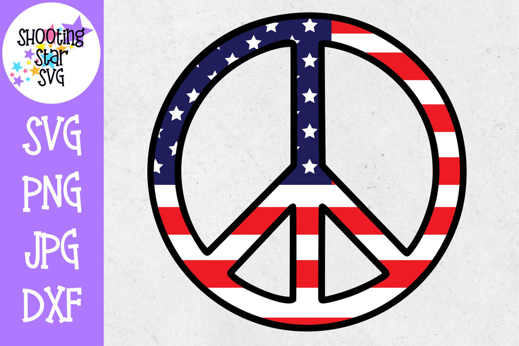 Peace Sign with American Flag- Fourth of July SVG