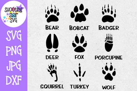 Animal Tracks - Animal Paw Prints - Children's SVG