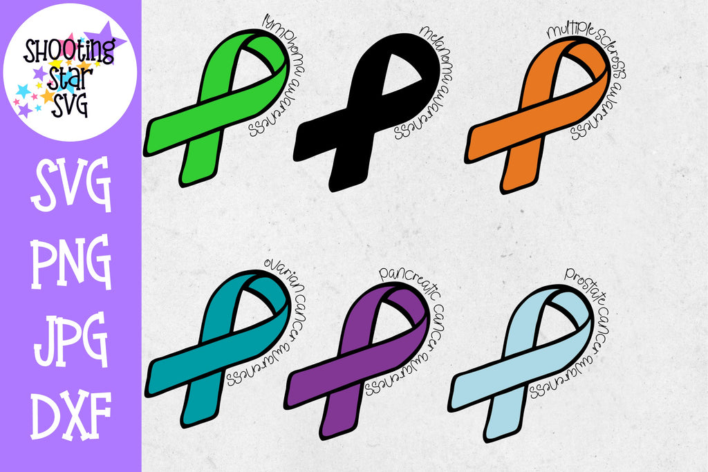 Awareness Ribbon Bundle - Cancer SVG - Cancer Ribbon SVG