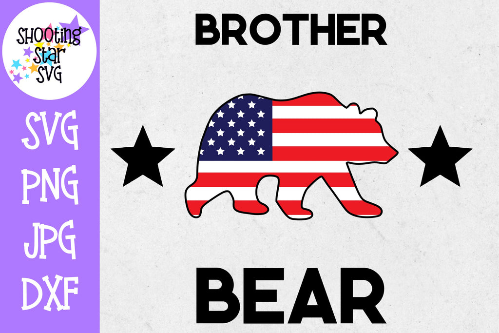 Brother bear with American Flag - Fourth of July SVG