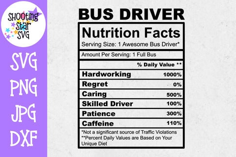 Bus Driver Nutrition Facts SVG - Bus Driver SVG