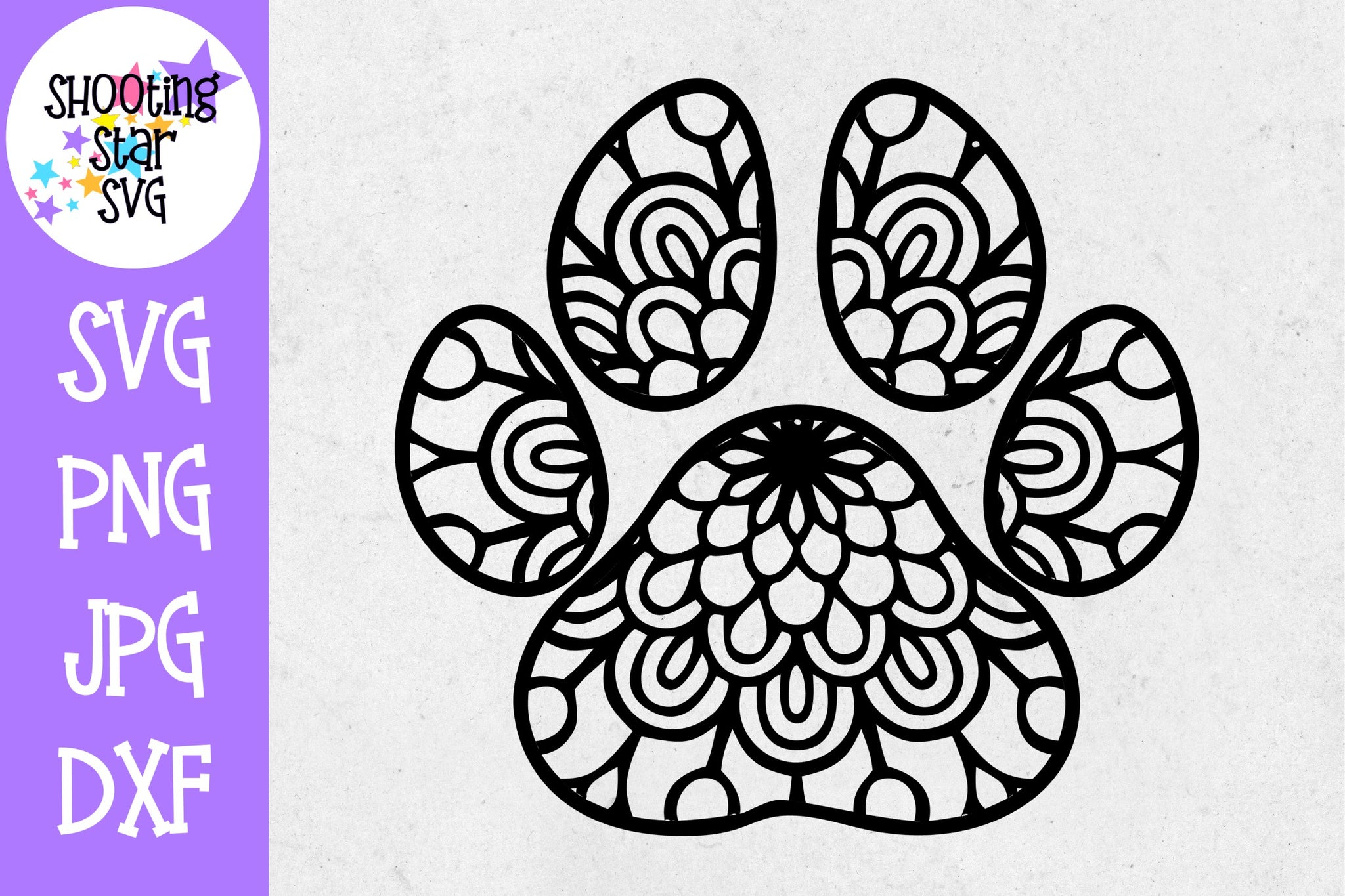 Dog Paw Print Mandala Single - Mandala SVG