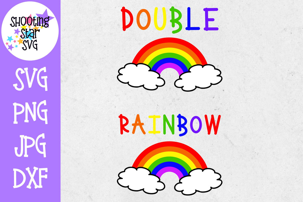 Double Rainbow - Rainbow Baby SVG - Twin Bodysuit SVG