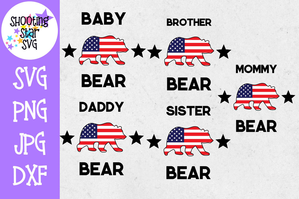 Family bear with American Flag Bundle - Fourth of July SVG