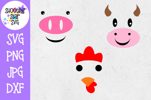 Farm Animal Faces SVG - Farming SVG - Cow - Pig - Chicken