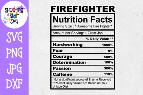 Firefighter Nutrition Facts SVG - Firefighter SVG