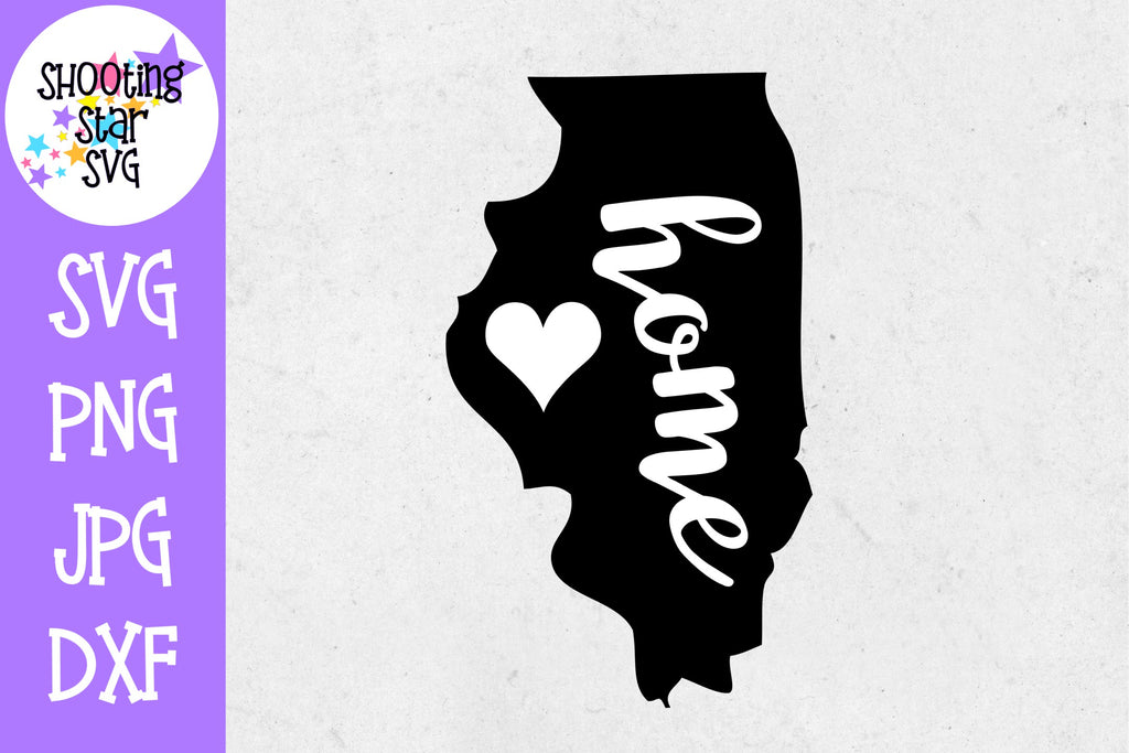 Illinois State Home with Heart SVG - 50 States SVG - United States SVG