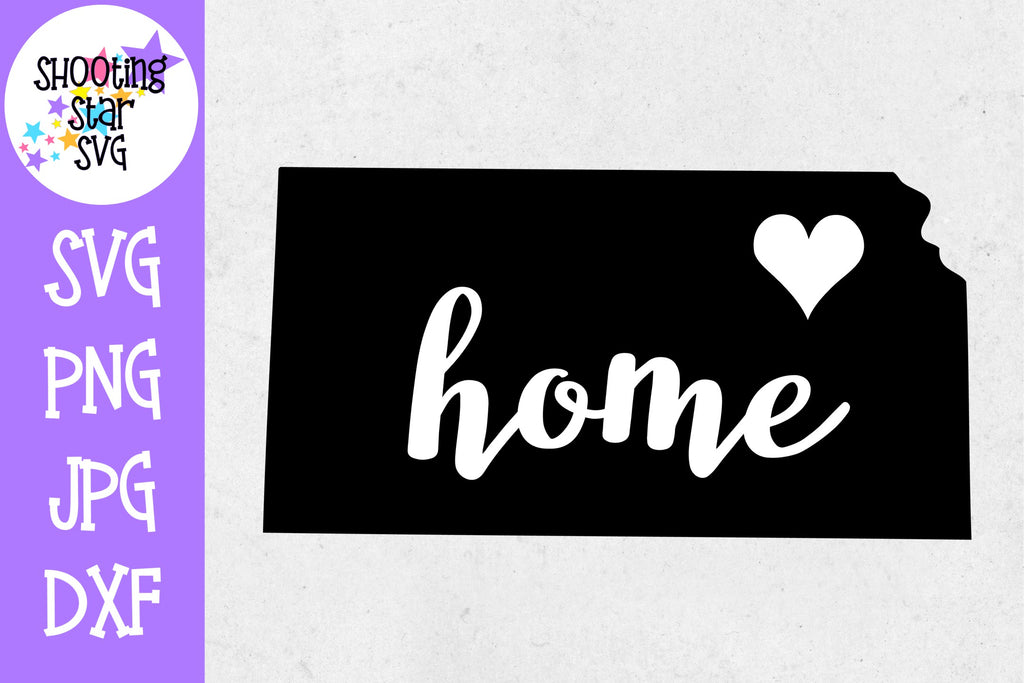 Kansas State Home with Heart SVG - 50 States SVG - United States SVG