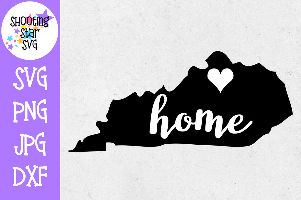 Kentucky State Home with Heart SVG - 50 States SVG - United States SVG