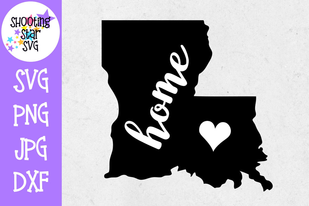 Louisiana State Home with Heart SVG - 50 States SVG - United States SVG