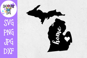 Michigan State Home with Heart SVG - 50 States SVG - United States SVG