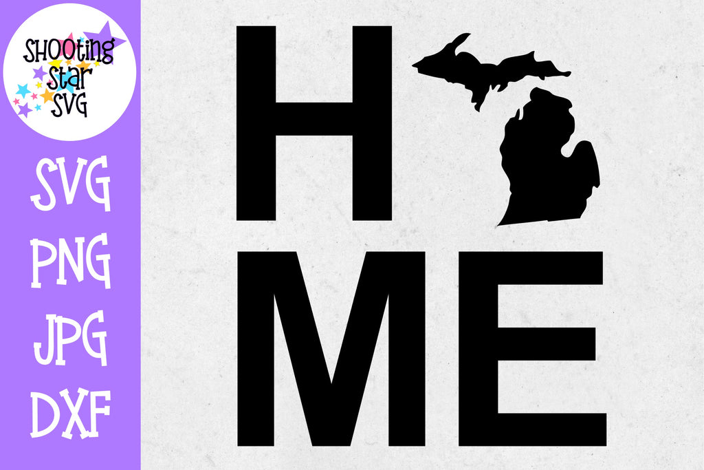 Michigan State Home with State Outline SVG - 50 States SVG - United States SVG
