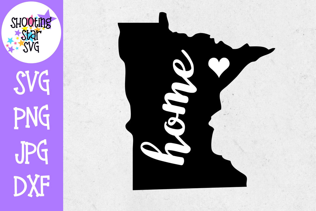 Minnesota State Home with Heart SVG - 50 States SVG - United States SVG