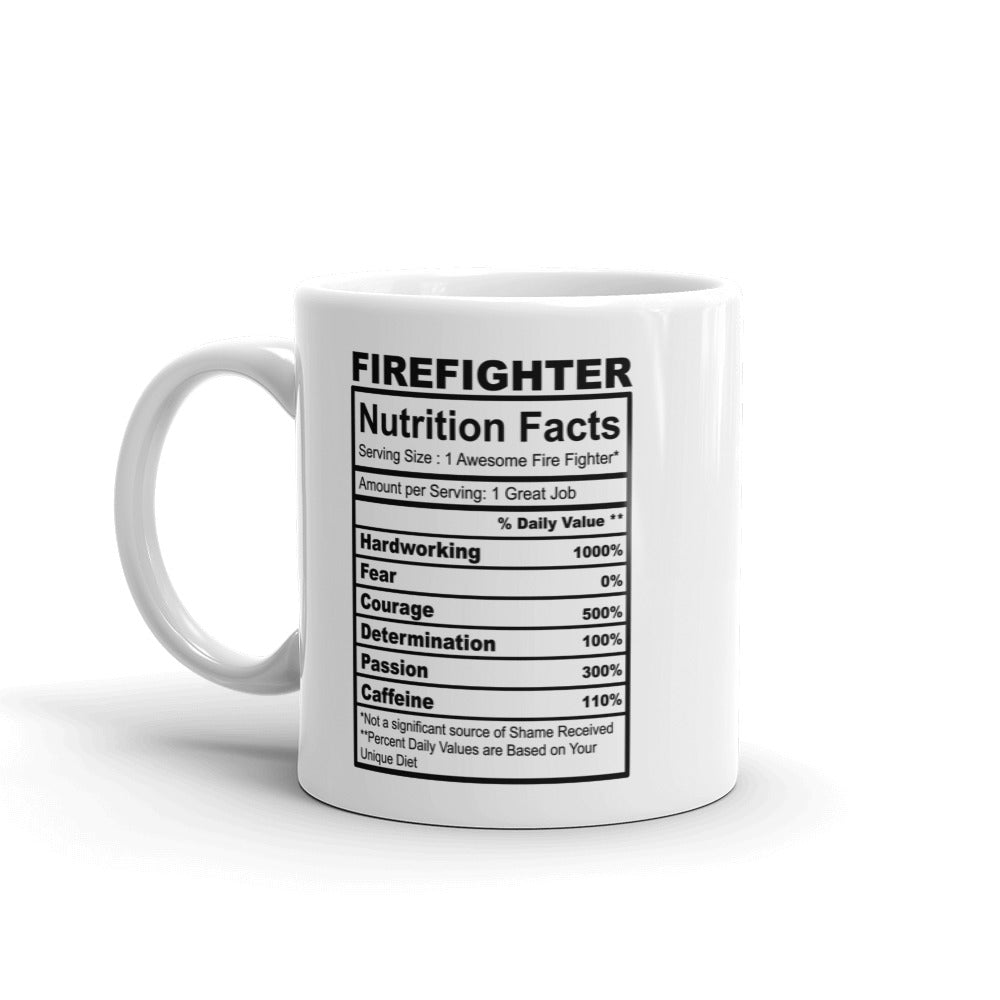 Firefighter Nutrition Facts Coffee Mug