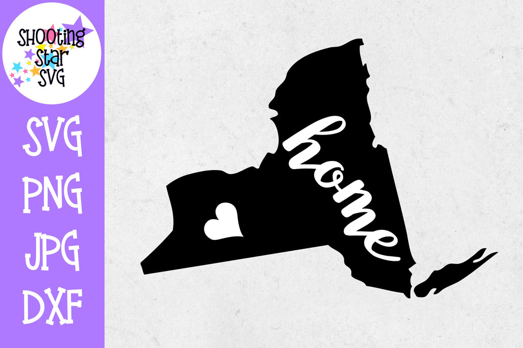 New York State Home with Heart SVG - 50 States SVG - United States SVG